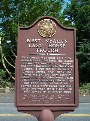 West Nyack's Last Horse Trough Marker Photo, Click for full size