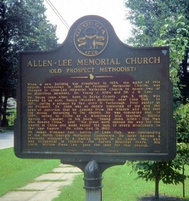 Allen-Lee Memorial Church Marker image. Click for full size.