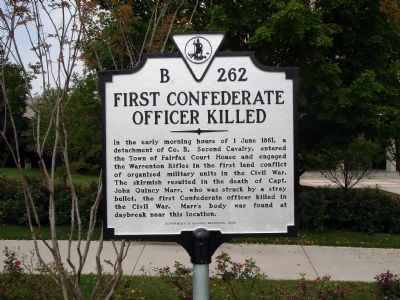 First Confederate Officer Killed Marker image. Click for full size.