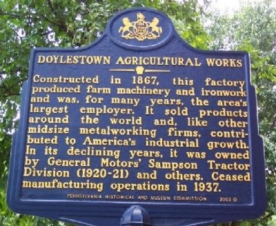 Doylestown Agricultural Works Marker image. Click for full size.