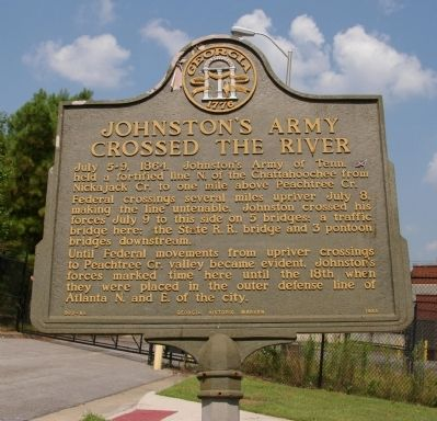 Johnston's Army Crossed the River Marker image. Click for full size.