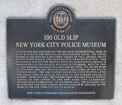 100 Old Slip - New York City Police Museum Marker Photo, Click for full size