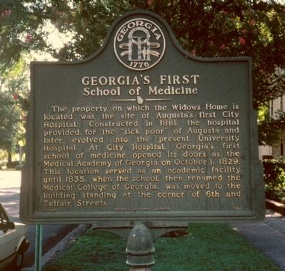 Georgia's First School of Medicine Marker image. Click for full size.