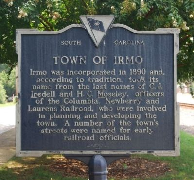 Town of Irmo Marker - Reverse image. Click for full size.