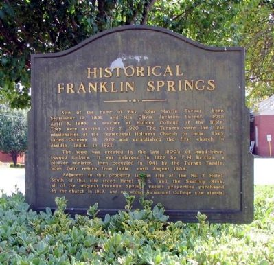 Historical Franklin Springs Marker Photo, Click for full size
