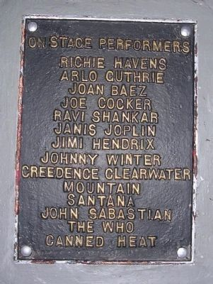 Close up of left side list of Woodstock Performers Photo, Click for full size
