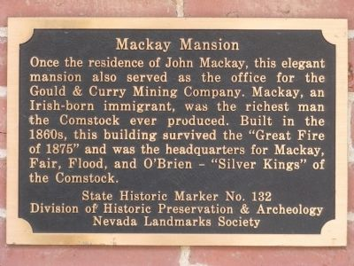 Mackay Mansion Marker image. Click for full size.