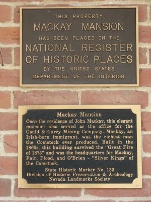 Mackay Mansion Marker with National Register of Historic Places Plaque image. Click for full size.