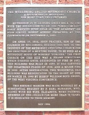 The Wellsburg United Methodist Church Marker image. Click for full size.