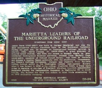 Marietta Leaders of the Underground Railroad Marker (Side B) Photo, Click for full size