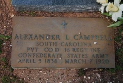 Alexander Lafayette Campbell (1836–1920) Tombstone Photo, Click for full size
