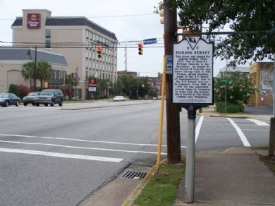 Pickens Street Marker, looking eastward along Gervais Street (U.S. 1/378), at Pickens St. Photo, Click for full size