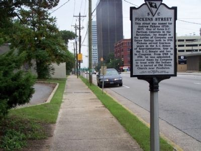 Pickens Street Marker, looking westward along Gervais Street Photo, Click for full size