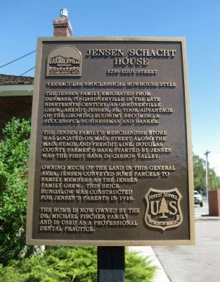 Jensen/Schacht House Marker image. Click for full size.