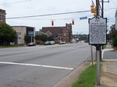 Henderson Street Marker, looking eastward , along Gervais Street. image. Click for full size.