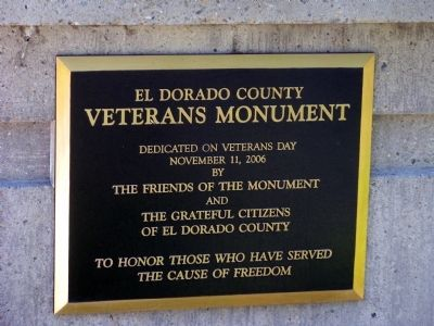 El Dorado County Veterans Monument Marker Located on Right Planter image. Click for full size.
