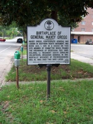 Birthplace of General Maxey Gregg Marker image. Click for full size.
