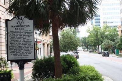 Washington Street Marker, looking south along Main St. image. Click for full size.