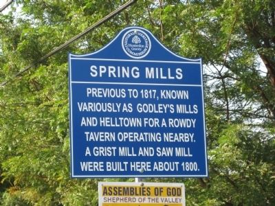 Spring Mills Marker image. Click for full size.