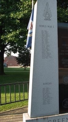 Front - Left Panel - - Greene County ( Indiana ) War Memorial Marker image. Click for full size.