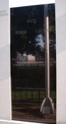 Back - Center Panel - - Greene County ( Indiana ) War Memorial Marker image. Click for full size.