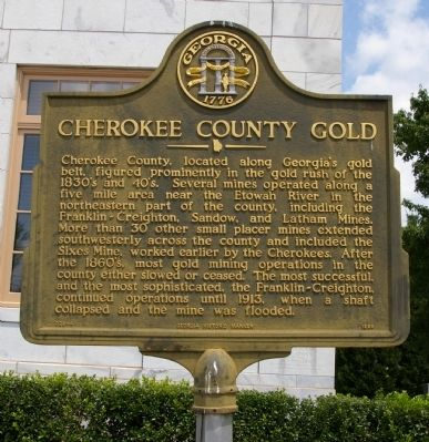 Cherokee County Gold Marker image. Click for full size.