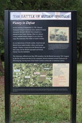 Battle of Eutaw Springs Frontside of Marker image. Click for full size.