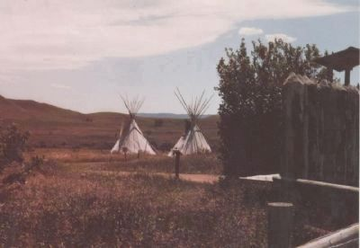 Fort Phil Kearny Historic Site - teepees exhibited near visitor's center. image. Click for full size.