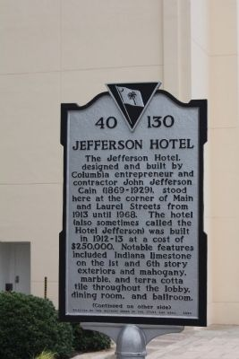 Jefferson Hotel Marker , Front view image. Click for full size.