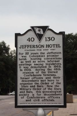 Jefferson Hotel Marker, reverse side text image. Click for full size.