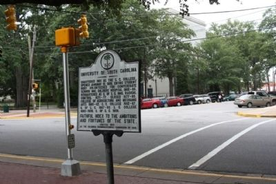 University of South Carolina Marker, looking at intersection at College St. image. Click for full size.
