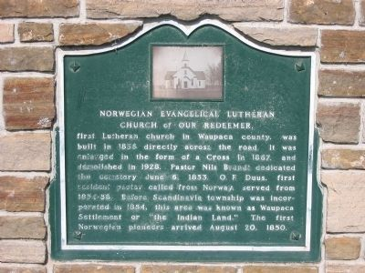 Norwegian Evangelical Lutheran Church of Our Redeemer Marker image. Click for full size.