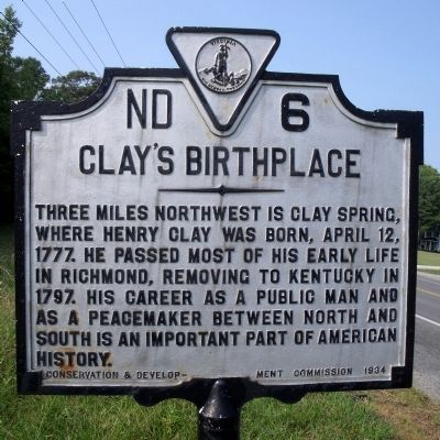 Clay's Birthplace Marker image. Click for full size.