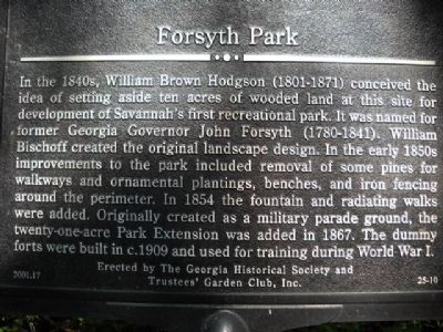 Forsyth Park Marker Photo, Click for full size