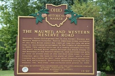 The Maumee and Western Reserve Road Marker image. Click for full size.
