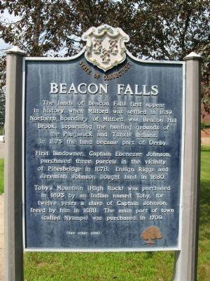 Beacon Falls Marker (front) image. Click for full size.