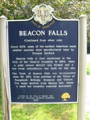Beacon Falls Marker (back) image. Click for full size.