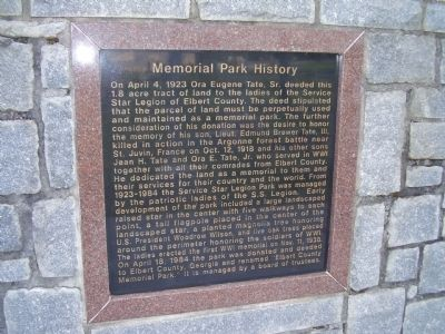 Memorial Park History Marker Photo, Click for full size