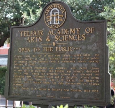 Telfair Academy of Arts & Sciences Marker image. Click for full size.