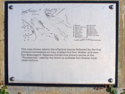Fort Walker Line of Union ships Port Royal Interpretive Marker Photo, Click for full size