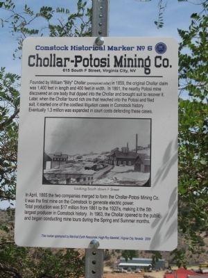 Chollar – Potosi Mining Co. Marker image. Click for full size.