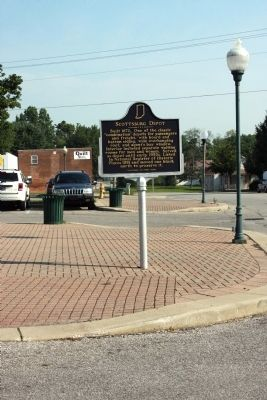 Wide View Side A - - Scottsburg Depot Marker image. Click for full size.