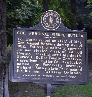 Reverse Side - Col. Percival Pierce Butler Marker image. Click for full size.