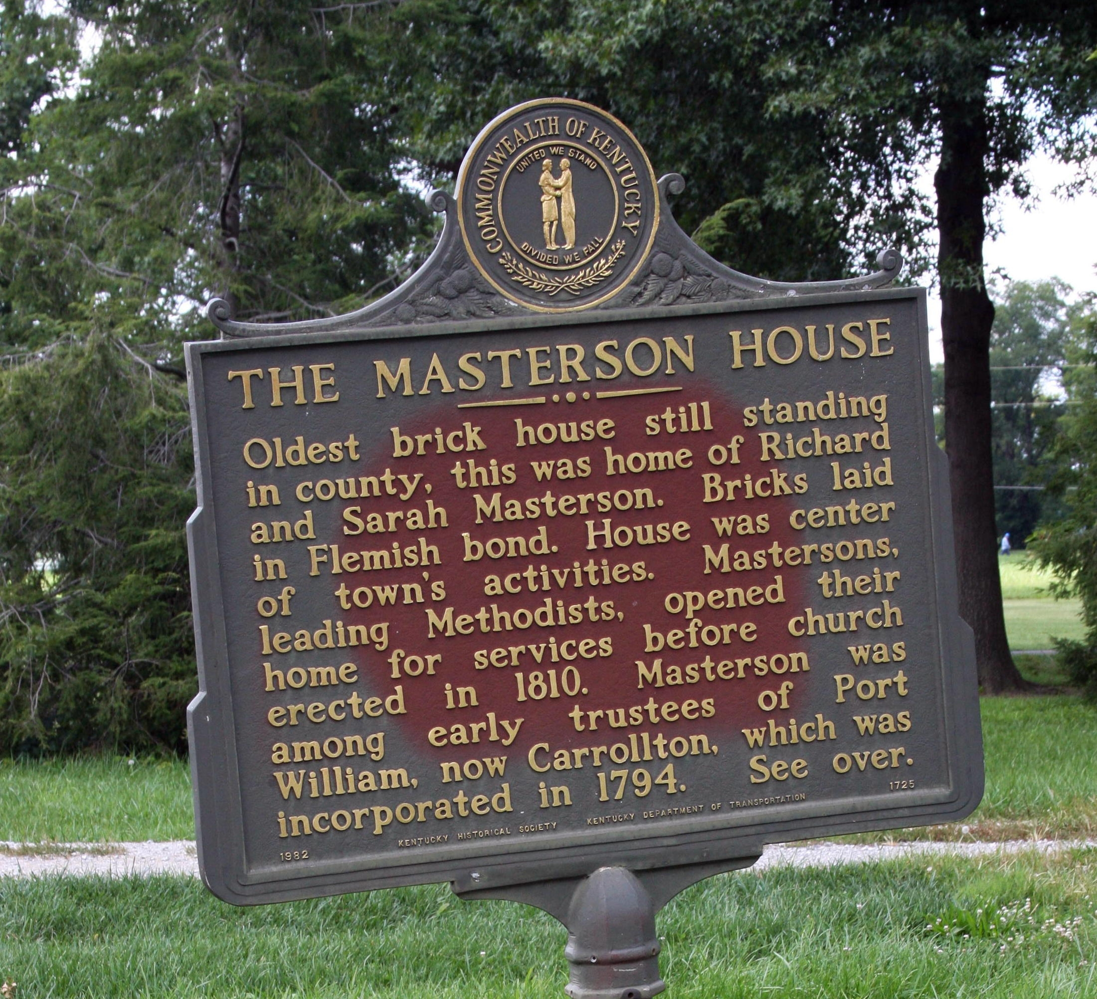 Side A - - The Masterson House Marker