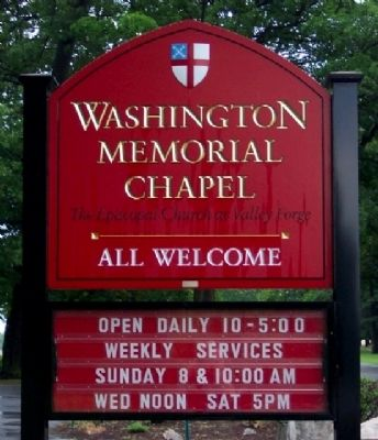 Washington Memorial Chapel Sign image. Click for full size.