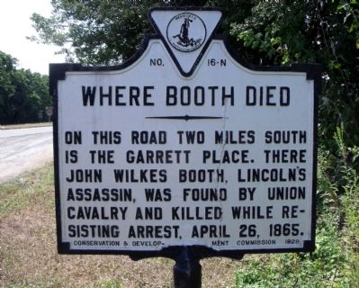 Where Booth Died Marker Photo, Click for full size