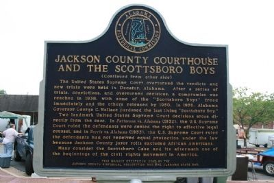 Jackson County Courthouse And The Scottsboro Boys Marker Reverse Side image. Click for full size.