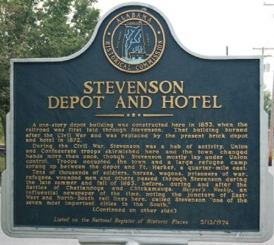 Stevenson Depot and Hotel Marker Photo, Click for full size