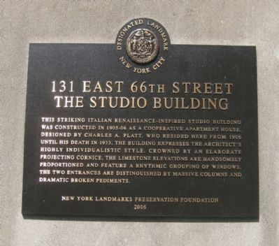 131 East 66th Street Marker image. Click for full size.