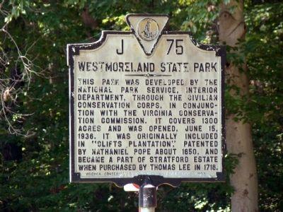 Westmoreland State Park Historical Marker